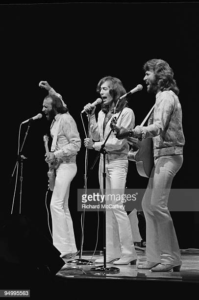 Maurice Gibb Robin Gibb and Barry Gibb of The Bee Gees perform live in 1979 in San Francisco California