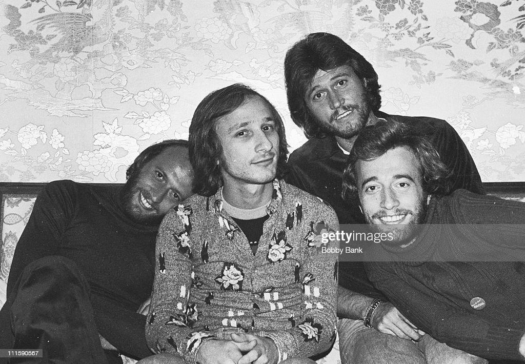 Maurice Gibb, Stan Soocher, Barry Gibb and Robin Gibb