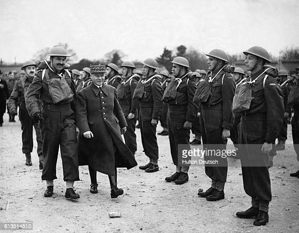 Maurice Gustave Gamelin the French general and commanderinchief of Allied forces at the start of World War II conducts an inspection of British troops