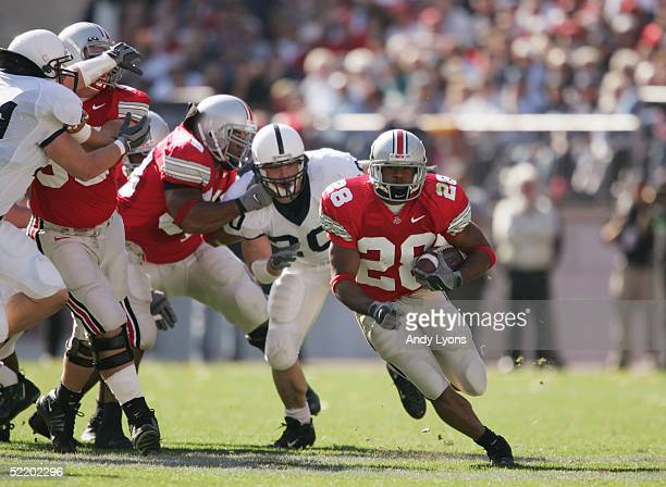Maurice Hall of the Ohio State Buckeyes carries the ball during the game against the Penn State Nittany Lions at Ohio Stadium on October 30 2004 in...