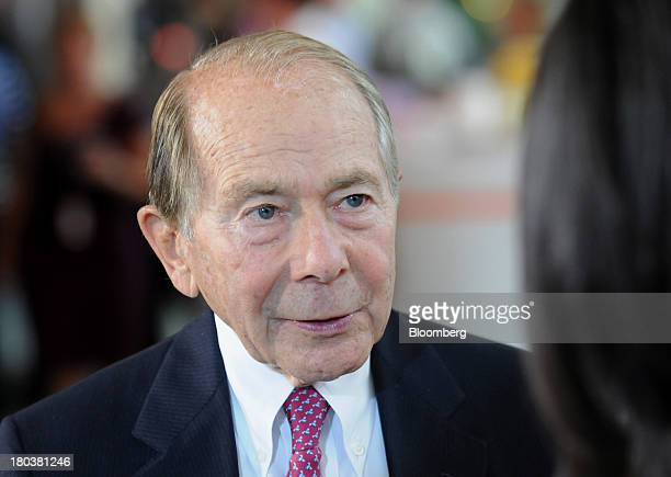 Maurice 'Hank' Greenberg former chairman and chief executive officer of American International Group Inc speaks during a Bloomberg Television...