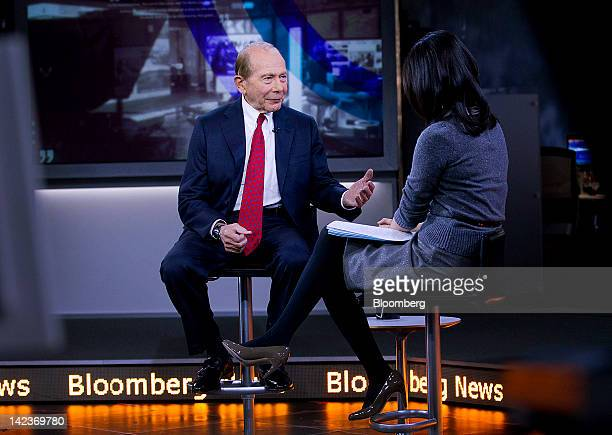 Maurice 'Hank' Greenberg the former chairman and chief executive officer of American International Group Inc speaks during a television interview in...