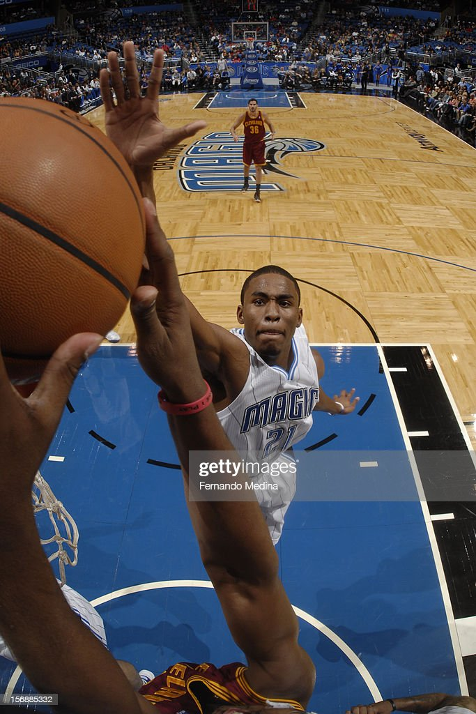 Maurice Harkless #21 of the Orlando Magic attempts to block a shot against the Cleveland Cavaliers on November 23, 2012 at Amway Center in Orlando, Florida.