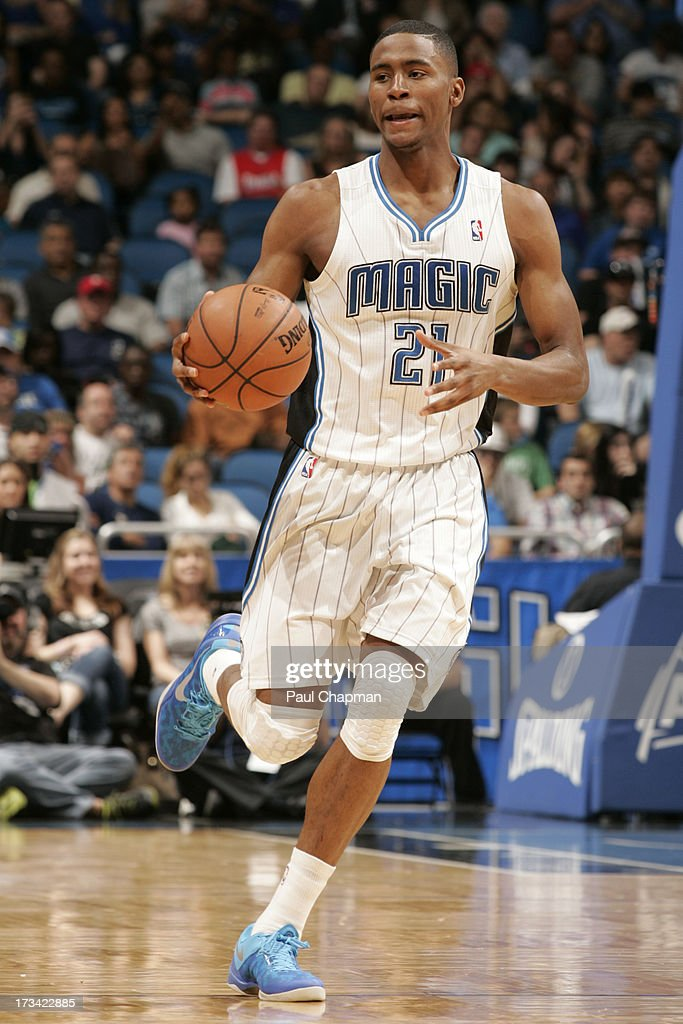 Maurice Harkless #21 of the Orlando Magic brings the ball up court during the game between the Philadelphia 76ers and the Orlando Magic on March 10, 2013 at Amway Center in Orlando, Florida.