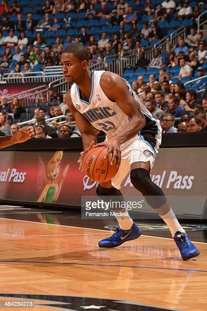 Maurice Harkless of the Orlando Magic dribbles the ball against the Washington Wizards during the game on April 11 2014 at Amway Center in Orlando...