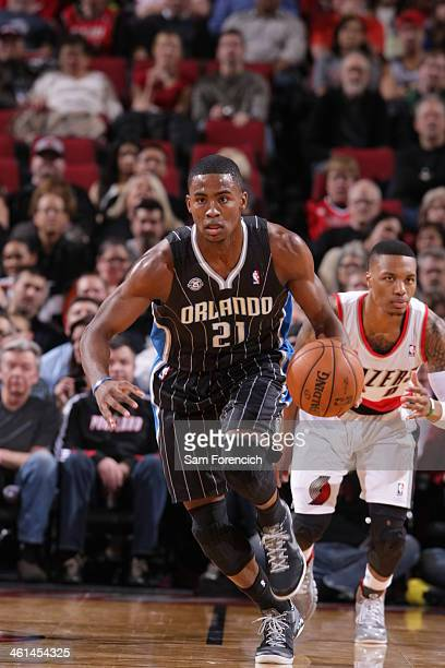 Maurice Harkless of the Orlando Magic drives against the Portland Trail Blazers on January 8 2014 at the Moda Center Arena in Portland Oregon NOTE TO...