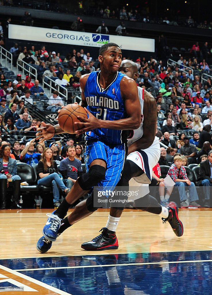 Maurice Harkless #21 of the Orlando Magic drives baseline against the Atlanta Hawks on March 30, 2013 at Philips Arena in Atlanta, Georgia.
