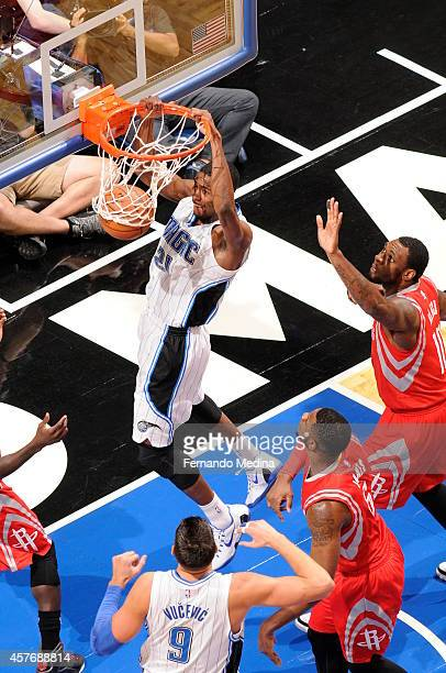 Maurice Harkless of the Orlando Magic dunks against the Houston Rockets on October 22 2014 at Amway Center in Orlando Florida NOTE TO USER User...