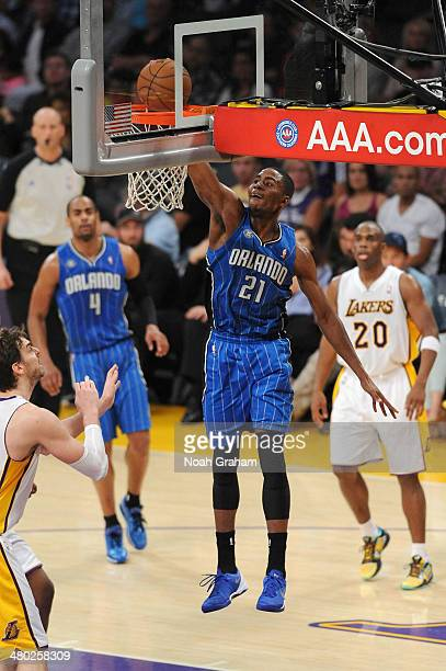 Maurice Harkless of the Orlando Magic dunks against the Los Angeles Lakers at Staples Center on March 23 2014 in Los Angeles California NOTE TO USER...
