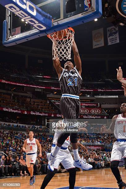 Maurice Harkless of the Orlando Magic dunks against the New York Knicks on February 21 2014 at Amway Center in Orlando Florida NOTE TO USER User...