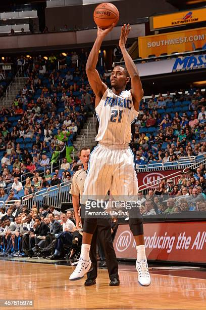 Maurice Harkless of the Orlando Magic goes up for a shot against the Dallas Mavericks on October 24 2014 at Amway Center in Orlando Florida NOTE TO...
