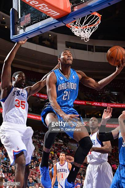 Maurice Harkless of the Orlando Magic goes up for the layup against of the Philadelphia 76ers at the Wells Fargo Center on February 26 2014 in...