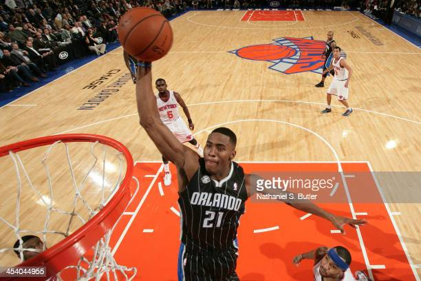 Maurice Harkless of the Orlando Magic goes up to dunk during a game against the New York Knicks at Madison Square Garden in New York City on December...