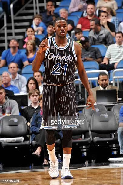 Maurice Harkless of the Orlando Magic looks on against the Washington Wizards during the game on March 14 2014 at Amway Center in Orlando Florida...