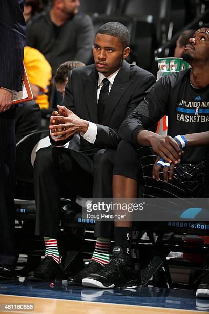 Maurice Harkless of the Orlando Magic looks on from the bench against the Denver Nuggets at Pepsi Center on January 7 2015 in Denver Colorado The...