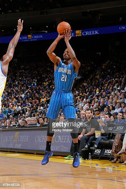 Maurice Harkless of the Orlando Magic shoots against the Golden State Warriors on March 18 2014 at Oracle Arena in Oakland California NOTE TO USER...
