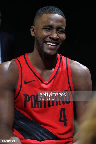 Maurice Harkless of the Portland Trail Blazers debuts the new jersey during the unveiling of the New NBA Partnership with Nike on September 15 2017...