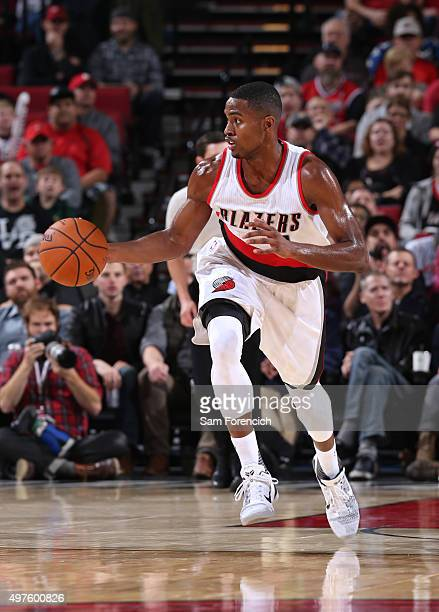 Maurice Harkless of the Portland Trail Blazers drives to the basket against the Detroit Pistons during the game on November 8 2015 at the Moda Center...