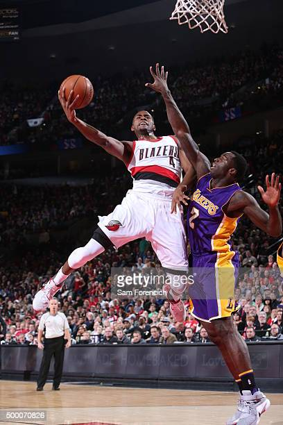 Maurice Harkless of the Portland Trail Blazers drives to the basket against the Los Angeles Lakers on November 28 2015 at the Moda Center Arena in...