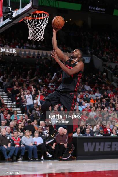 Maurice Harkless of the Portland Trail Blazers drives to the basket against the Utah Jazz on February 11 2018 at the Moda Center in Portland Oregon...