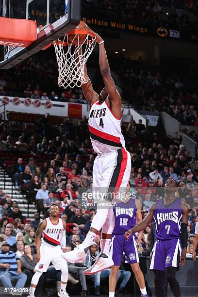 Maurice Harkless of the Portland Trail Blazers goes for the dunk against the Sacramento Kings during the game on March 28 2016 at Moda Center in...