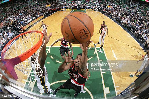 Maurice Harkless of the Portland Trail Blazers goes for the layup against the Utah Jazz during a preseason game at EnergySolutions Arena on October...