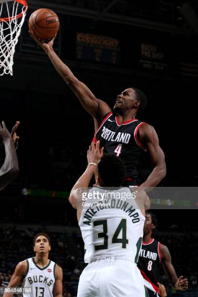 Maurice Harkless of the Portland Trail Blazers goes to the basket against the Milwaukee Bucks on October 21 2017 at the BMO Harris Bradley Center in...