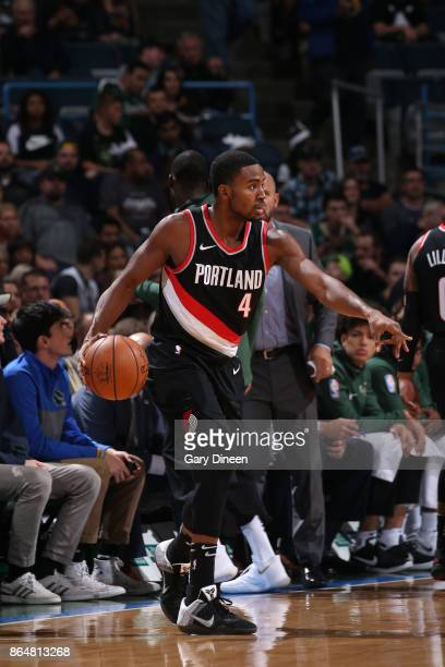 Maurice Harkless of the Portland Trail Blazers handles the ball against the Milwaukee Bucks on October 21 2017 at the BMO Harris Bradley Center in...