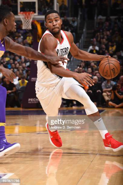 Maurice Harkless of the Portland Trail Blazers handles the ball against the Los Angeles Lakers on December 23 2017 at STAPLES Center in Los Angeles...