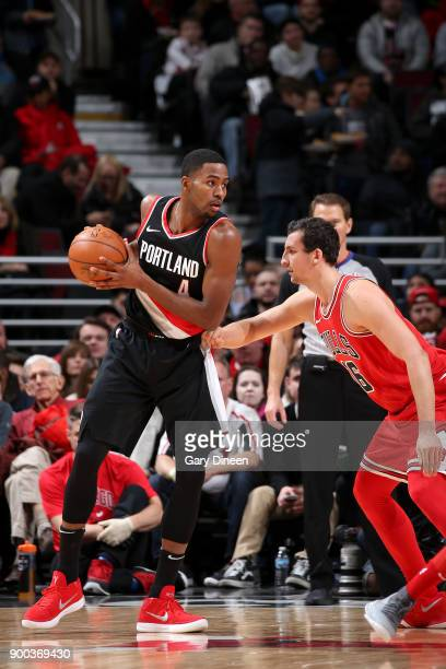 Maurice Harkless of the Portland Trail Blazers handles the ball against the Chicago Bulls on January 1 2018 at the United Center in Chicago Illinois...