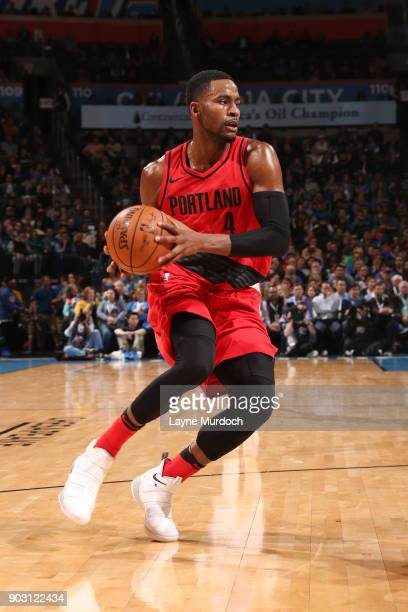 Maurice Harkless of the Portland Trail Blazers handles the ball against the Oklahoma City Thunder on January 9 2018 at Chesapeake Energy Arena in...