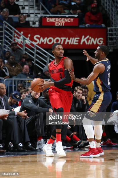 Maurice Harkless of the Portland Trail Blazers handles the ball against the New Orleans Pelicans on January 12 2018 at the Smoothie King Center in...