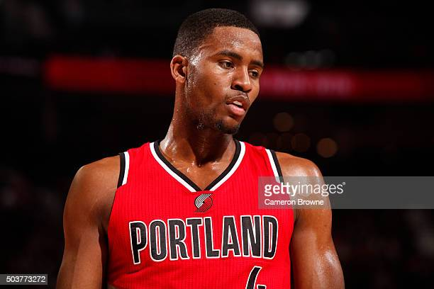 Maurice Harkless of the Portland Trail Blazers is seen during the game against the Los Angeles Clippers on October 8 2016 at the Moda Center in...