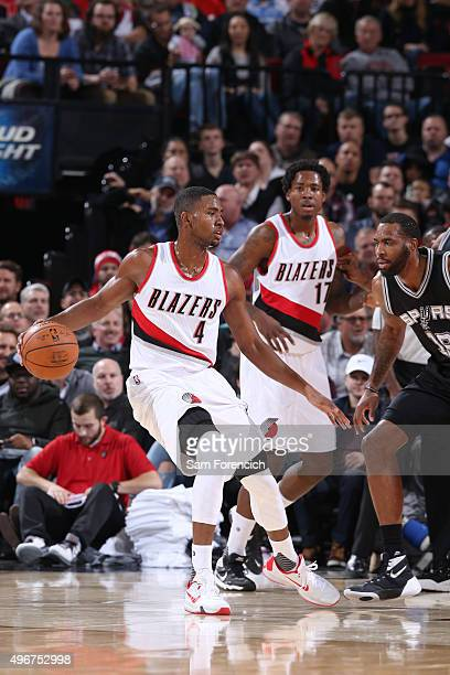 Maurice Harkless of the Portland Trail Blazers looks to move the ball against the San Antonio Spurs during the game on November 11 2015 at Moda...