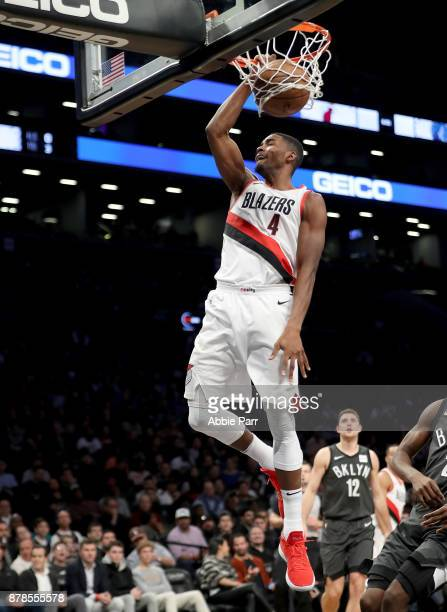 Maurice Harkless of the Portland Trail Blazers scores a basket in the second half against the Brooklyn Nets at Barclays Center on November 24 2017 in...