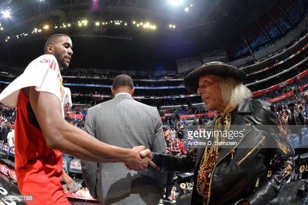 Maurice Harkless of the Portland Trail Blazers shakes hands with James Goldstein after the game against the LA Clippers on March 18 2018 at STAPLES...