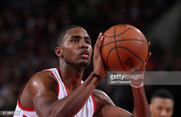 Maurice Harkless of the Portland Trail Blazers shoots a free throw against the Utah Jazz on February 21 2016 at the Moda Center Arena in Portland...