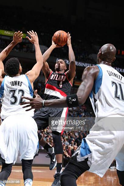 Maurice Harkless of the Portland Trail Blazers shoots against the Minnesota Timberwolves during the game on November 2 2015 at Target Center in...