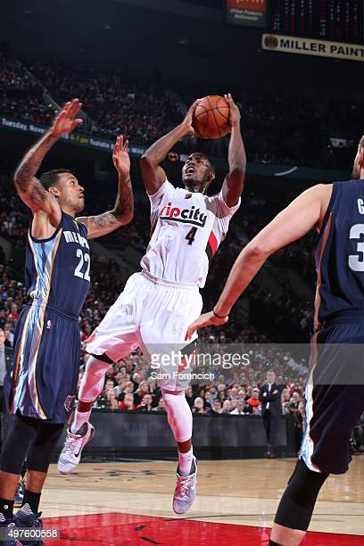 Maurice Harkless of the Portland Trail Blazers shoots the ball during the game against the Memphis Grizzlies on November 5 2015 at the Moda Center...