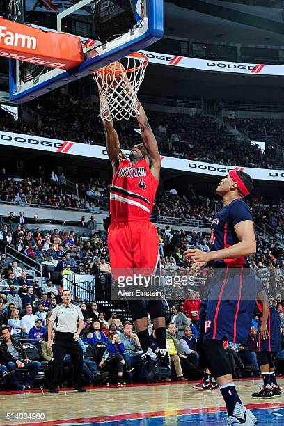 Maurice Harkless of the Portland Trail Blazers shoots the ball against the Detroit Pistons on March 6 2016 at The Palace of Auburn Hills in Auburn...