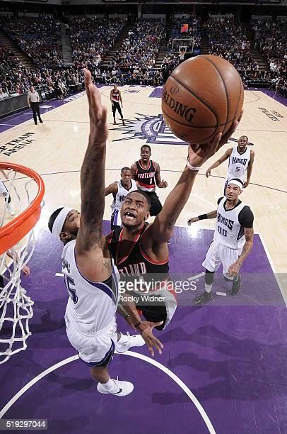 Maurice Harkless of the Portland Trail Blazers shoots the ball against the Sacramento Kings on April 5 2016 at Sleep Train Arena in Sacramento...