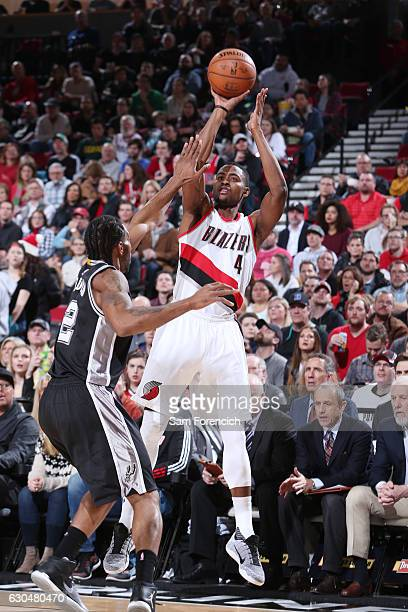 Maurice Harkless of the Portland Trail Blazers shoots the ball against the San Antonio Spurs during the game on December 23 2016 at the Moda Center...