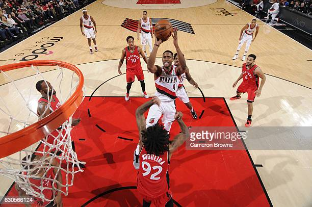 Maurice Harkless of the Portland Trail Blazers shoots the ball against the Toronto Raptors on December 26 2016 at the Moda Center in Portland Oregon...