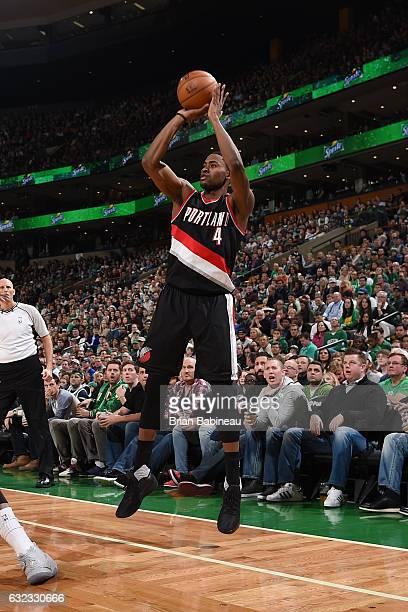 Maurice Harkless of the Portland Trail Blazers shoots the ball against the Boston Celtics on January 21 2017 at the TD Garden in Boston Massachusetts...