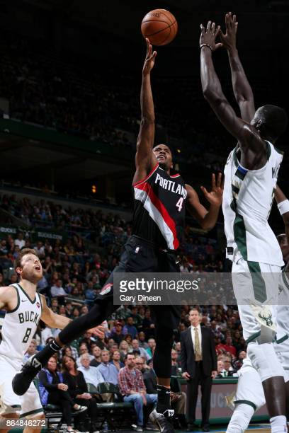 Maurice Harkless of the Portland Trail Blazers shoots the ball against the Milwaukee Bucks on October 21 2017 at the BMO Harris Bradley Center in...