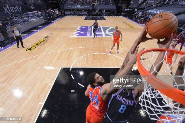 Maurice Harkless of the Sacramento Kings dunks the ball during the game against the Oklahoma City Thunder on May 11, 2021 at Golden 1 Center in...