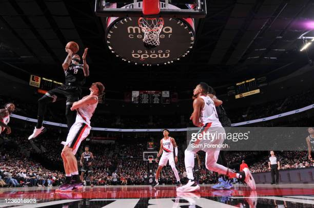 Maurice Harkless of the Sacramento Kings shoots the ball during the game against the Portland Trail Blazers on October 20, 2021 at the Moda Center...