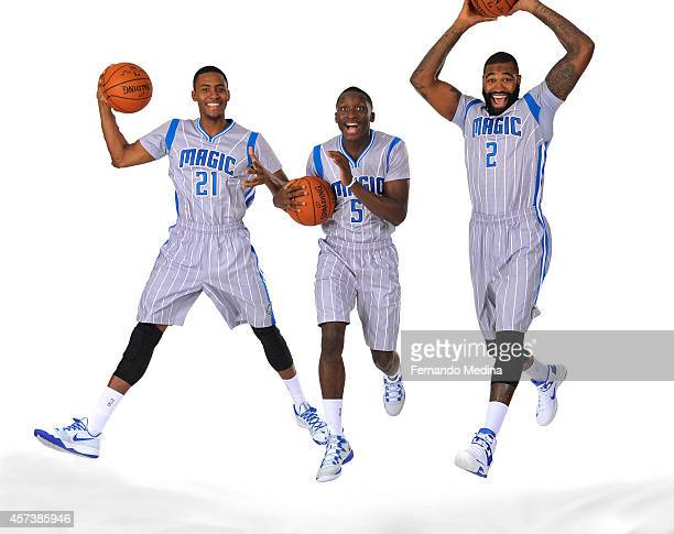 Maurice Harkless Victor Oladipo of the Orlando Magic Kyle O'Quinn of the Orlando Magic pose for a picture at the Orlando Magic Media Day on September...