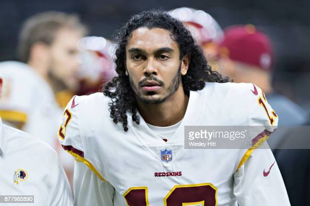 Maurice Harris of the Washington Redskins warming up before a game against the New Orleans Saints at MercedesBenz Superdome on November 19 2017 in...