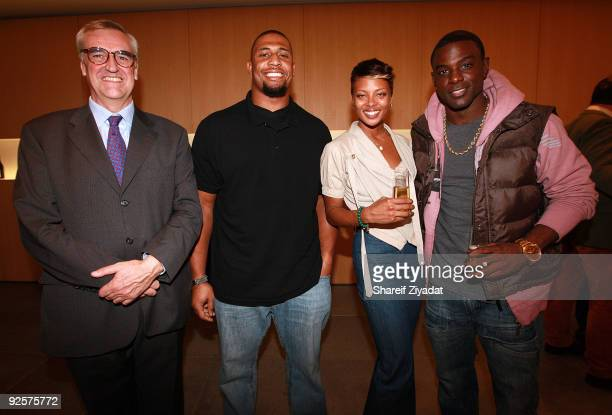 Maurice Hennessy Lamarr Woodley Eva Marcille and Lance Gross attend a celebration at the Moet Hennessy USA building on October 30 2009 in New York...